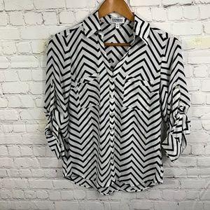 Express Chevron Print Portofino Shirt Size XS